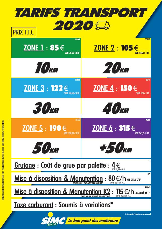 Tarifs Transport SIMC 2020