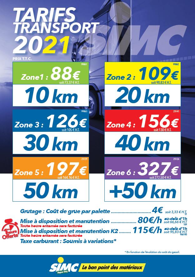 Tarifs transport 2021 SIMC
