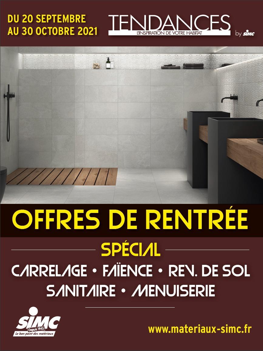 Affiche des offres de rentrée dans les magasins Tendance by SIMC- Vue d'une salle de bain moderne
